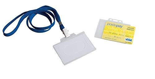 Porta badge in plastica rigida con laccio per carte di credito e tessera magnetica (2 pezzi)