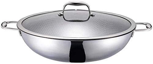 TINGFENG Wok Wok de acero inoxidable Menos aceitoso Wok Wok Cocina de inducción de cocina no palanca Estufa de gas General Utensilios de cocina