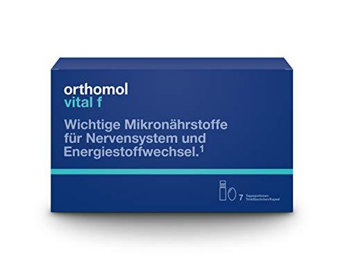 Orthomol vital f 7 Trinkampullen & Kapseln - Vitamin Komplex im Trinkfläschchen für Frauen bei Müdigkeit & Erschöpfung