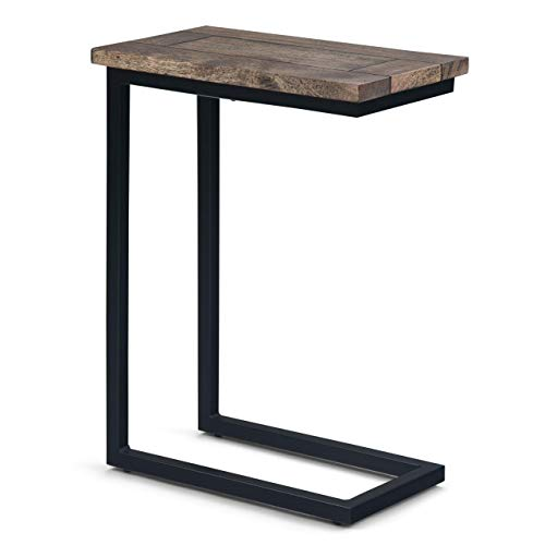 Simpli Home Skyler SOLID MANGO WOOD and Metal 18 inch Wide Rectangle Industrial C Side Table in...