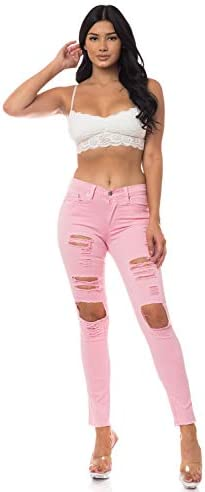 Aphrodite Mid Rise Frayed Jeans for Women Skinny Ankle Womens Distressed Frayed Jeans with 5 product image