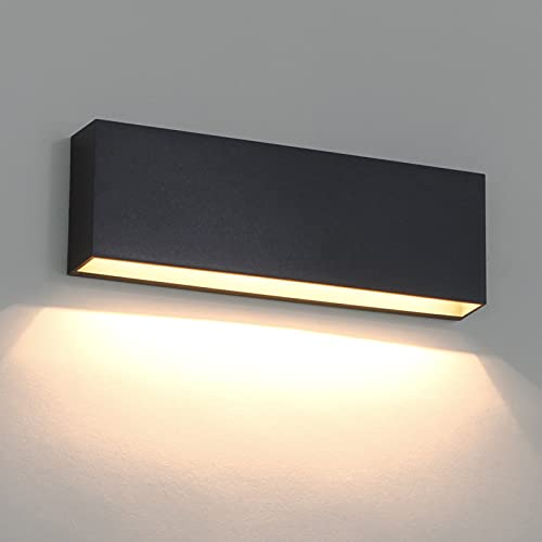 DAWALIGHT IP65 Wasserdichte Wandleuchte Wandfluter Aussen LED 6W 3000K Warmweiß, Plastik Außenwandlampe Dunkelgrau Rechteckig