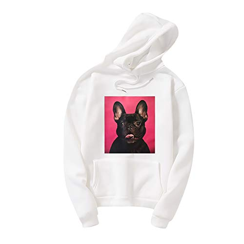 Women Long Sleeve Hoodies Cute Dog Print Graphic Tee Casual Drawstring Hooded Sweatshirt Pullover Top Baggy Blouse Memela White