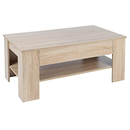 ML Design Couchtisch mit 1 Schublade und Ablageboden, 110 × 65 × 48 cm, Spanplatte, Sonoma Eiche, Robust und Kratzfest, Moderner Beistelltisch Wohnzimmertisch Sofatisch Kaffeetisch Tisch Möbel Dekor