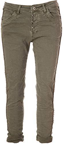 Basic.de Damen-Hose Skinny mit Kontraststreifen aus Metall-Nieten Melly & CO 8176 Khaki S