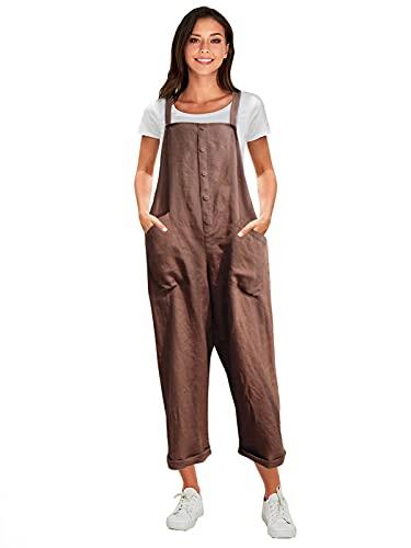 VONDA Latzhose Damen Elegant Klassisch Sommerhose Baumwolle Jumpsuit Lange Overall A-Kaffee XL