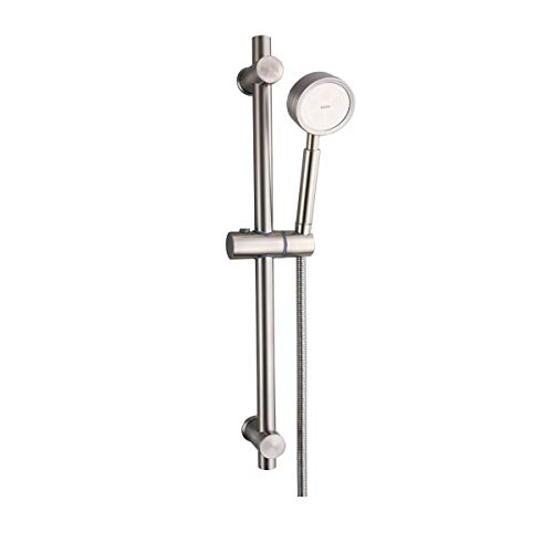 Set doccia set doccia in acciaio inossidabile, fornito con asta doccia, tubo flessibile doccia 1,5 m, soffione doccia ad alta pressione, stile finitura acciaio spazzolato