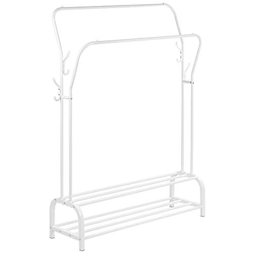 PrimeMatik - Perchero metálico Blanco Multifuncional con Doble Colgador y 2 estantes Bajos