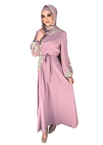 HZUX Elegant Muslim Women's Long Dress Women Dubai Dress Kaftan Abayas Islamic Abaya Pink