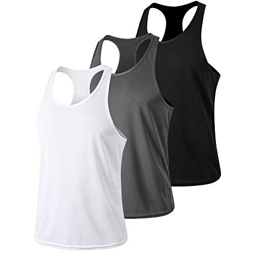 MeetHoo Canotta Uomo, Sportiva Canottiera Gym Tank Top Palestra Canotte Maglie Senza Maniche T Shirt da Bodybuilding Corsa Fitness