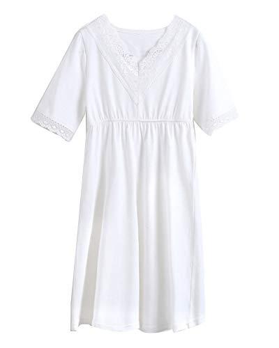 Niñas Camisón De Encaje Camisetas De Pijama Cuello V Manga Corta T Shirts Vestido Blanco 140CM