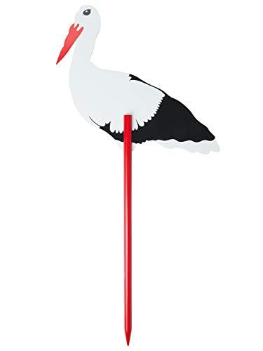 Bieco XXL Storch Geburt für Draussen aus Holz | 100 cm Groß | Willkommen Baby Geburtsgeschenk | Junge oder Mädchen | Gartenstecker | Kindsbaum | Storchaufsteller