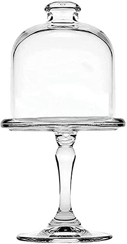 showyow Mini Soporte de Cristal para Tartas de 19 cm, Plato de Dulces con cúpula, Bandeja de repostería, Plato de Postre con Tapa de Campana en el Soporte para Cocina, Sala de Estar