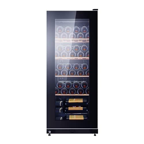 VIY Vinoteca para vinos Nevera vinos Nevera para Bebidas, 56 Botellas 5 Baldas de Acero Inoxidable Iluminación LED Negro