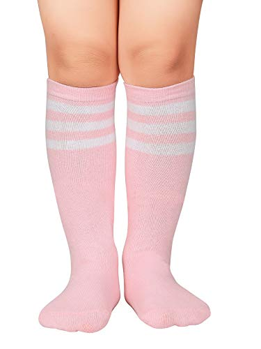 Century Star Kids Child Sport Soccer Socks Knee High Tube Socks Three Stripes Cotton Cute Stocking for Boys Girls 1 Pair Pink White One Size
