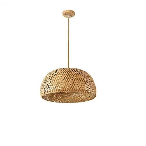 Modeen Candelabro de ratán Bambú Redondo E27 Montaje Empotrado Luz de Techo Redondo Nido de pájaro Casa Sombrero de Paja Lámpara Tejida de bambú Lámpara Japonesa rústica para salón de té Comedor Bar