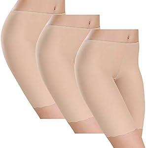 UMIPUBO Bragas Algodon Mujer Seda de Hielo Boxer Short Leggings Cortos Basic Long Pantalon Falda Leotardos de Seguridad Ropa Interior Pack de 3 (Piel, 34-36)