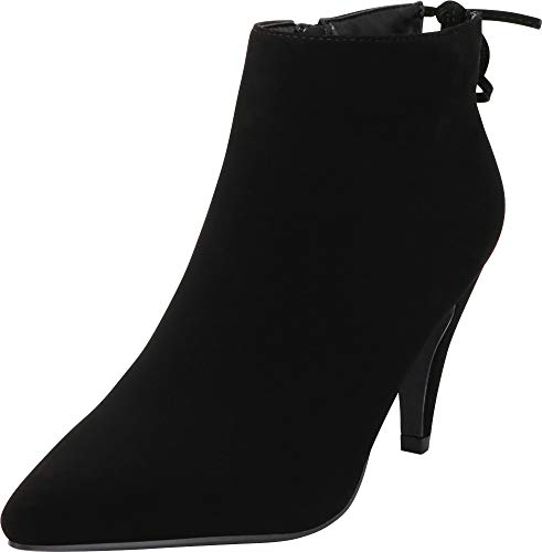 Cambridge Select Women's Pointed Toe Back Tie Mid Heel Ankle Bootie,7.5 B(M) US,Black NBPU