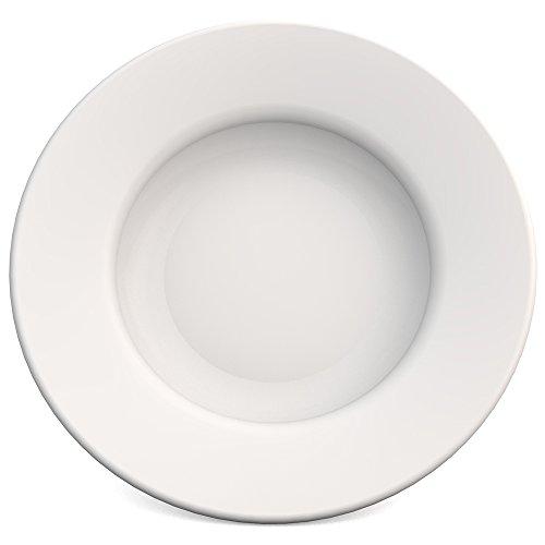 Ornamin Teller tief Ø 23,5 cm weiß, Melamin | hochwertiger, stabiler Kunststoffteller | robustes Alltags-Geschirr, Camping, Picknick, Gemeinschaftsverpflegung | Speiseteller, Suppenteller