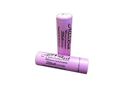 2 Pack of Button Top ALLFORBEST 3200mAh, 3.7V, 18-65-0 Size Rechargeable, for Flashlight etc