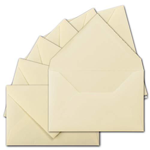25 Stück ca. B6 Vintage Brief-Umschläge, echtes Bütten-Papier, 11,8 x 18,2 cm, Elfenbein halbmatt hochwertige Brief-Kuverts - Original Zerkall-Bütten