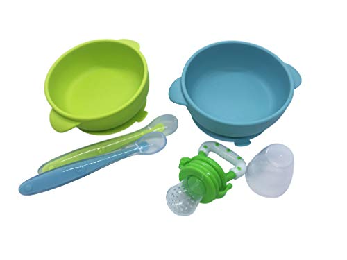 Silicone Baby Bowl Set (5-Piece Set)- Includes 2 Baby Bowls with High Suction Base, 2 Spoons & 1 Food Pacifier for Healthy Teething (Blue-Green)