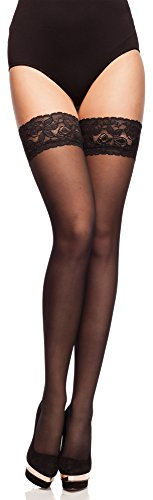 Merry Style Damen transparent Strümpfe MS 200 15 DEN (Schwarz, M-L (40-44))