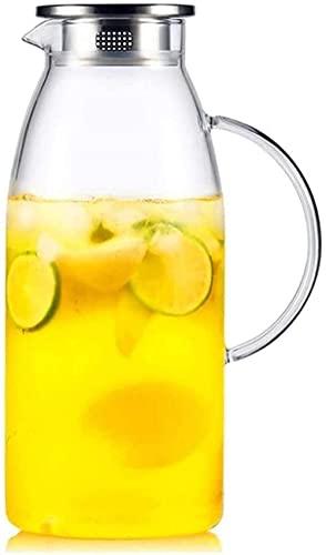 Taza de vidrio para tetera, tetera, con tapa, gran capacidad de tetera de hielo y vidrio duradero, muy adecuada para bebidas de jugo de té, taza de té