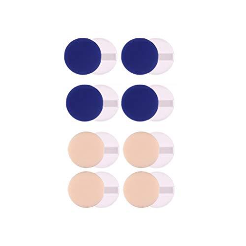 Lurrose Pochettes rondes de puissance de l'éponge pour la couverture de poudre de teint liquide cosmétiques fille de dame femmes 8pcs (bleu et peau)
