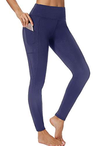 FITTOO Mallas Leggings Mujer Pantalones Deportivos Yoga Alta Cintura Elásticos y Transpirables #1 Azul Oscuro S