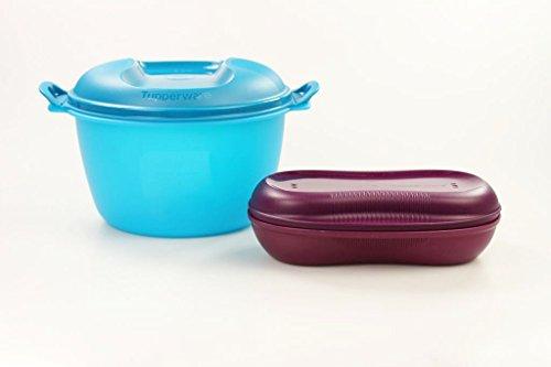 TUPPERWARE Mikrowelle Reis-Meister 3,0 L blau großer + Omelett-Meister lila