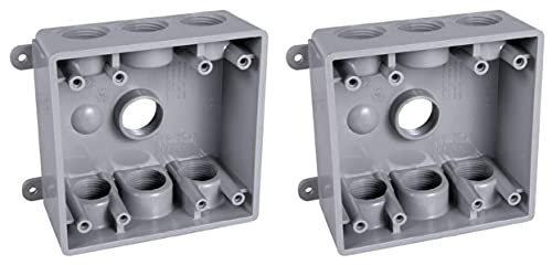 Hubbell-Bell PDB77550GY Two-Gang Weatherproof Box Seven 1/2 or 3/4-Inch. Threaded Outlets, Gray (Two Pack)