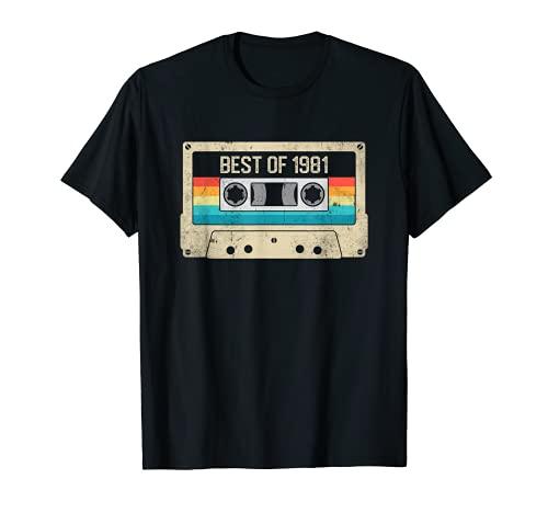 Best of 1981 Regalo 40 Años Cumpleaños Hombre Mujer Casete Camiseta