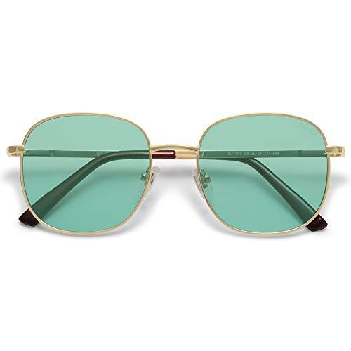 SOJOS Classic Square Sunglasses for Women Men with Spring Hinge AURORA SJ1137 with Gold/Green