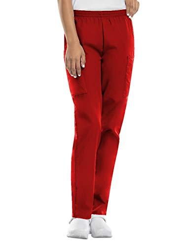 CHEROKEE Women's Workwear Elastic Waist Cargo Scrubs Pant, Red, Small/Petite