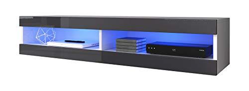 E-Com - TV-Lowboard Fernsehschrank Fernsehtisch Volant - 150cm - Weiss/Grau + LED