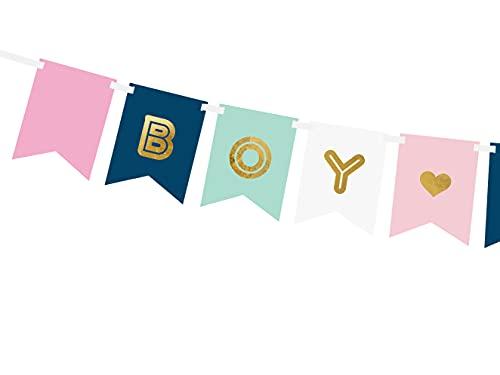 PartyDeco Banner Boy or Girl in Gold Banner für Baby Shower Gender Reveal Party Inschrift Mädchen Junge Girlande für Geburtstag Überraschungsparty für Mama