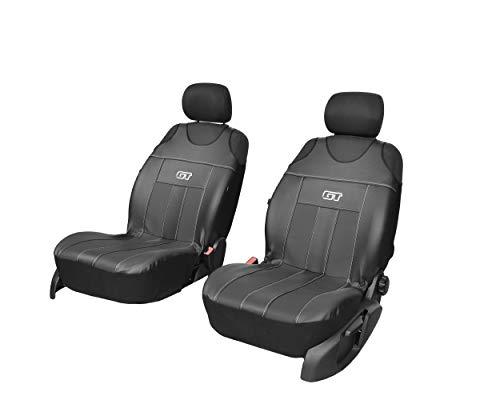 GT Kunstlederen universele stoelhoezen meerdere kleuren sport design geschikt voor Ford Ka voorkant hoezen zwart