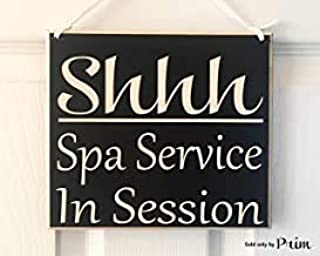 Littlecute 8x8 Shhh Spa Service in Session Treatment Massage Facial Waxing Lashes Brows Consultation in Progress Please Do Not Disturb Custom Wood Sign