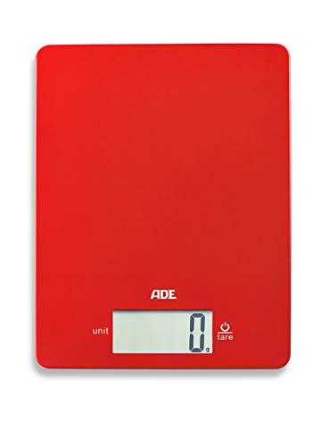 ADE Digitale Küchenwaage KE 1800-1 Leonie (Elektronische Waage für Küche und Haushalt, extrem flach, präzises Wiegen bis 5 kg, Zuwiegefunktion) rot