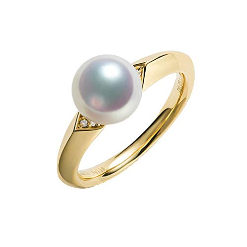 KnBob 18K Gelbgold 750 Ring für Frauen Elegant Weiß Runde 0.04CT Diamant mit Weiße Runde Perle Eheringe Verlobungsringe Größe 62 (19.7)