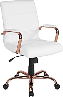 Emma + Oliver Mid-Back White Leather Executive Swivel Office Chair - Rose Gold Frame