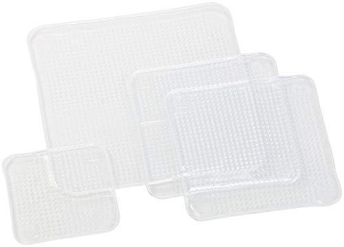 Rosenstein & Söhne Silikondeckel: 4er-Set wiederverwendbare Silikon-Frischhaltefolien, 3 Größen, dehnbar (Öko Silikon Deckel)