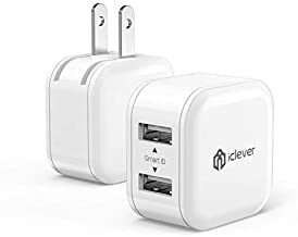 iClever Mini USB Wall Charger,12W 2-Pack Dual Port Travel Charger Cube Adapter for iPhone Xs Max XR X 8 Plus 7 6,iPad Pro Air Mini,Samsung Galaxy S9 S10 Plus S8 Note 9, HTC, Moto, and More (White)