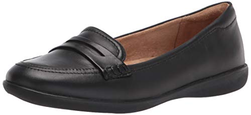 Naturalizer Women's Finley Loafer Flat, Black Leather, 8
