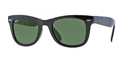 Ray-Ban Rb4105 Gafas de sol plegables Wayfarer, (Marco negro/ lente verde cristal 601), Medium