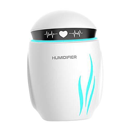 FLAMEER Personnels USB de Voiture Pulvérisateur Portable Robot Humidificateurs 2 Modes Mist Désodorisant 7 Couleurs LED Lampe de Nuit Mini Ventilateur Maison - Blanc