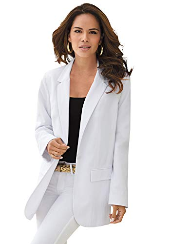Roamans Women's Plus Size Boyfriend Blazer Professional Jacket - 24 W, White