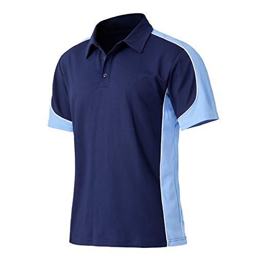 EKLENTSON Herren Polohemd Polo Shirts Funktionsshirts Kurzarm Schnelltrocknend Atmungsaktiv Bequeme Navy-Blau