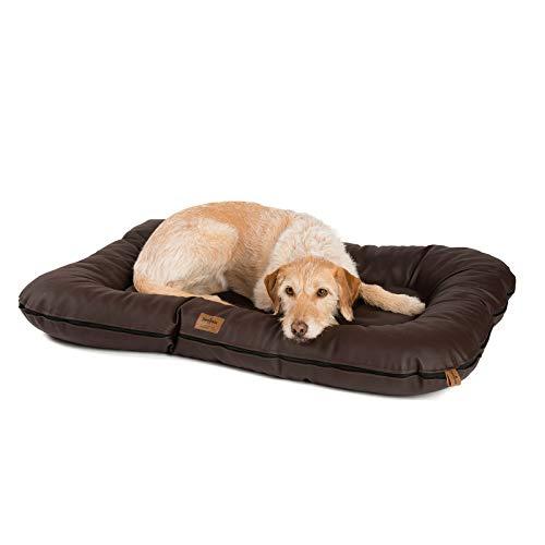 JAMAXX Premium Kunstleder Hunde-Kissen - Weiche Orthopädische Memory Visco Füllung, Dicke Polsterung, Bezug Abwaschbar mit Reißverschluss, Hundematte PDB1020 (L) 110x75 nut braun